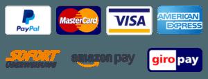 Bild mit allen Zahlungsmöglichkeiten im Online Shop: Paypal, Kreditkarte, Sofortüberweisung, Amazon Pay und GiroPay.