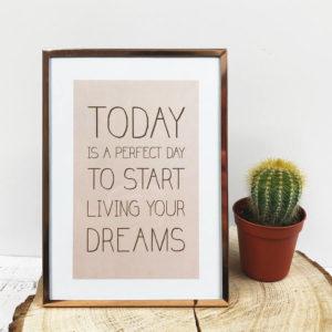 """Rose goldener Bilderrahmen mit Bild """"Today is a perfect day to start living your dreams"""" frontal neben einem Kaktus."""