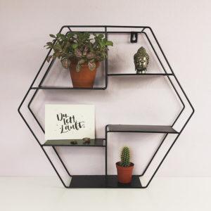 Wandregal Hexagon aus Metall mit Postkarte, Kaktus, Zimmerpflanze und Buddha Kopf. Frontal fotografiert.