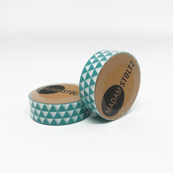 Washi Tape mit grünen Dreiecken in traniger vintage Optik